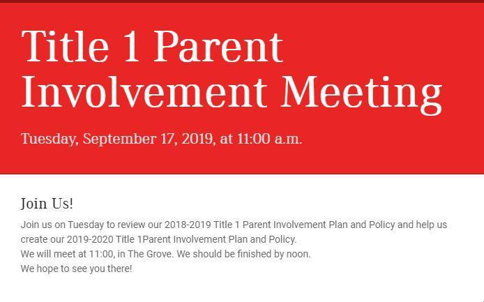 Title 1 Parent Involvement Meeting Featured Photo