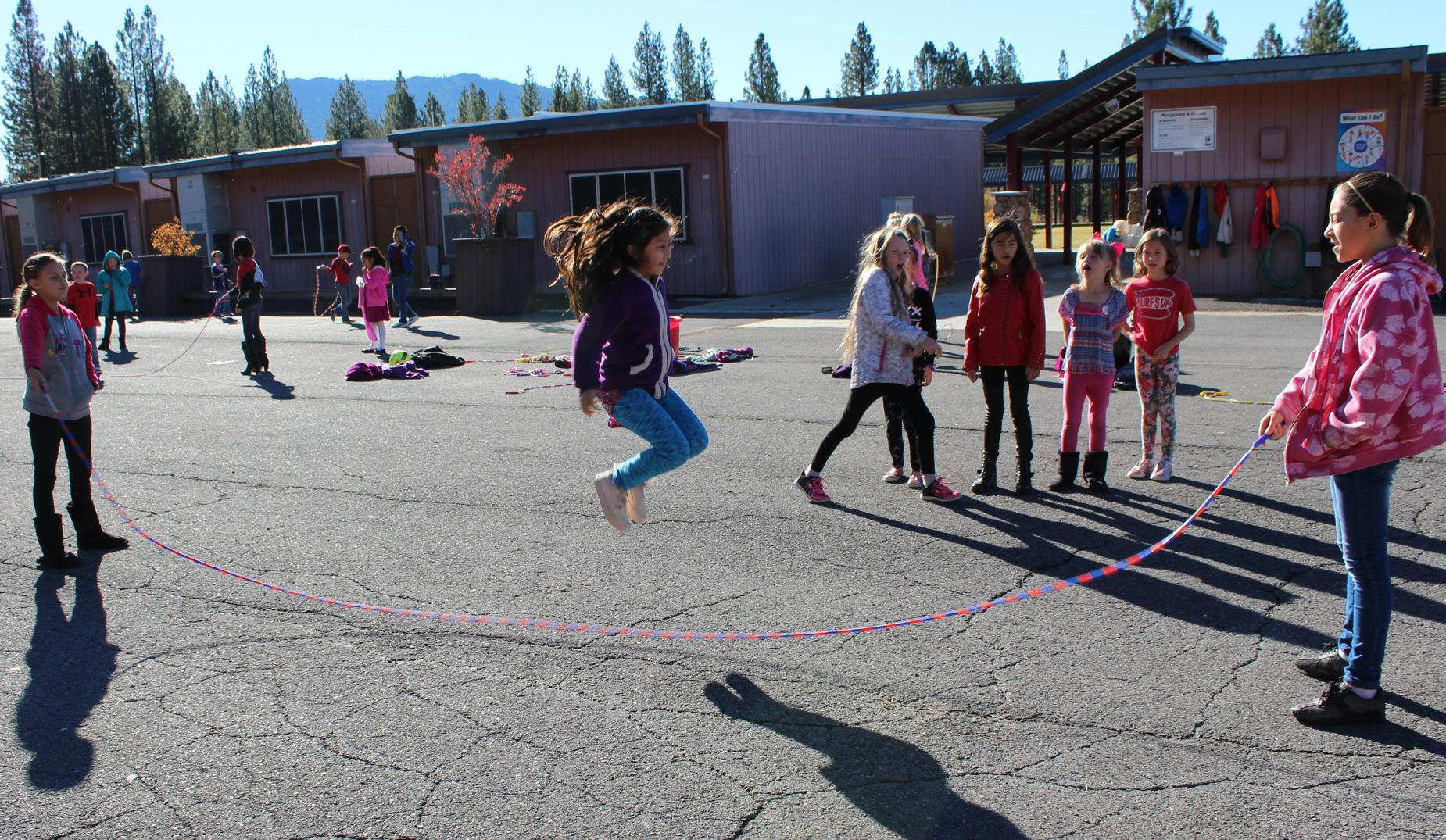Jumping rope on the playground