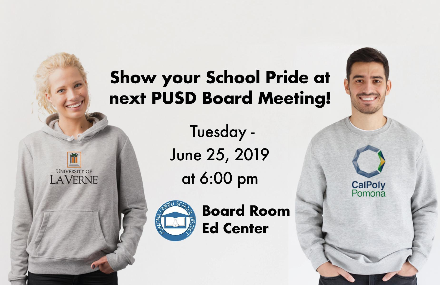 Show your school pride at next PUSD Board Meeting