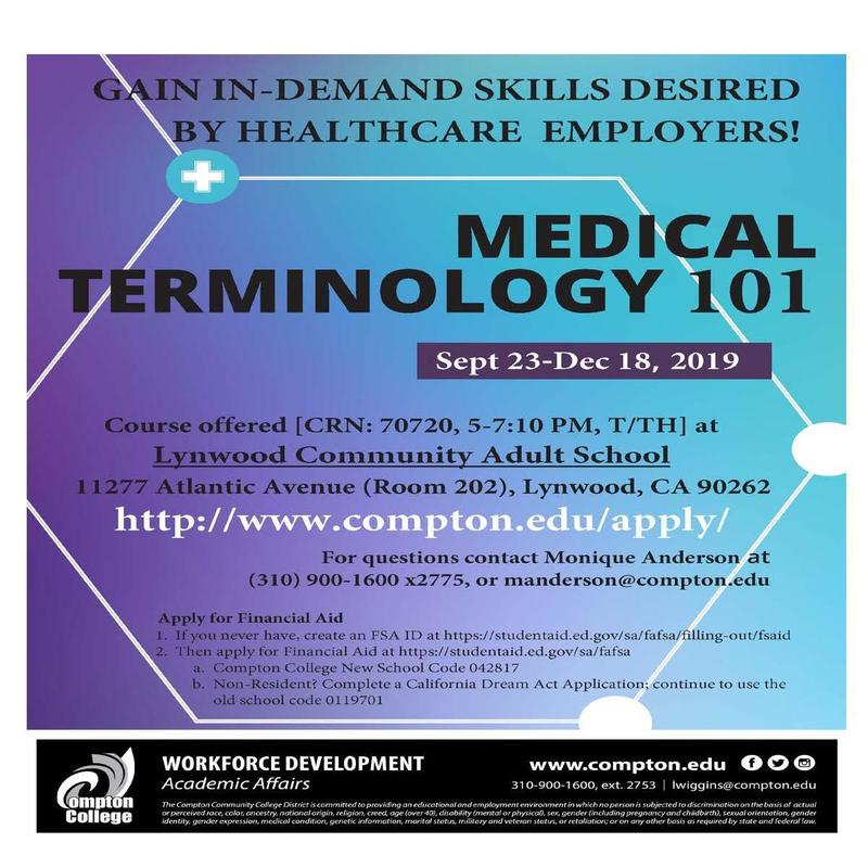 Compton College Medical Terminology 101 at Lynwood Community Adult School