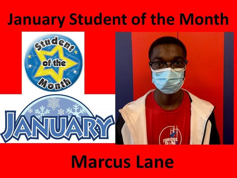 Marcus Lane Selected January Student of the Month Featured Photo