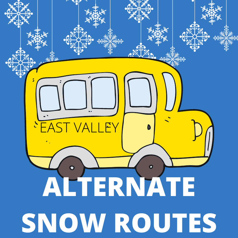 Cartoon school bus with snow and the words Alternate Snow Routes.