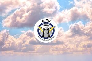 Cloudy sky with Miller logo.