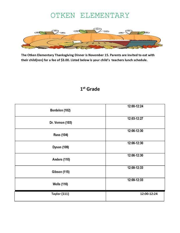 Otken Elementary Thanksgiving Schedule