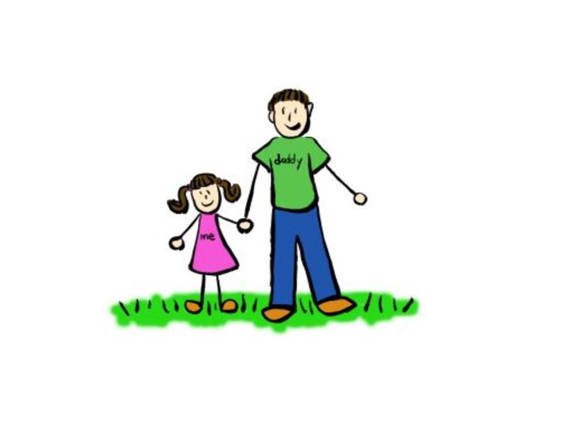 Graphic of a daddy and daughter holding hands.