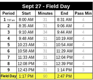 Field Day Bell Schedule