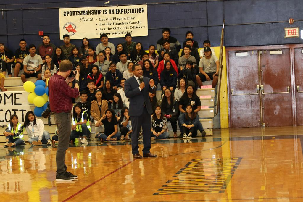 M. Scott speaks to student body