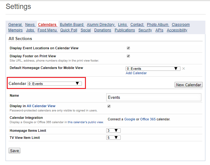 Use the Calendar dropdown to select which calendar to integrate with Google.