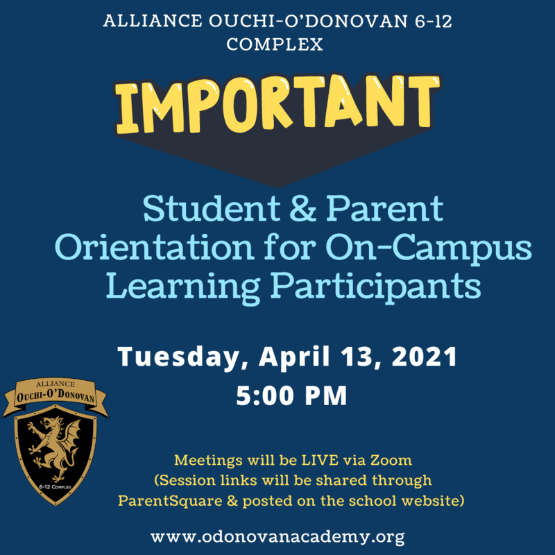 Urgent: Student & Parent Orientation for On-Campus Learning Participants Thumbnail Image