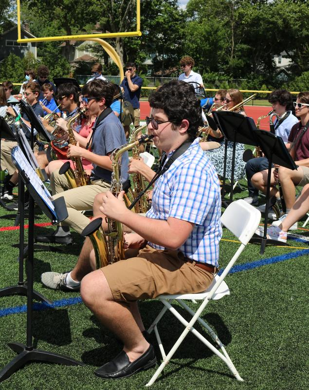 Students from the Westfield High School Band and Orchestra performed the graduation processional and recessional and the National Anthem during commencement exercises on Jun3 23 for the Class of 2021.