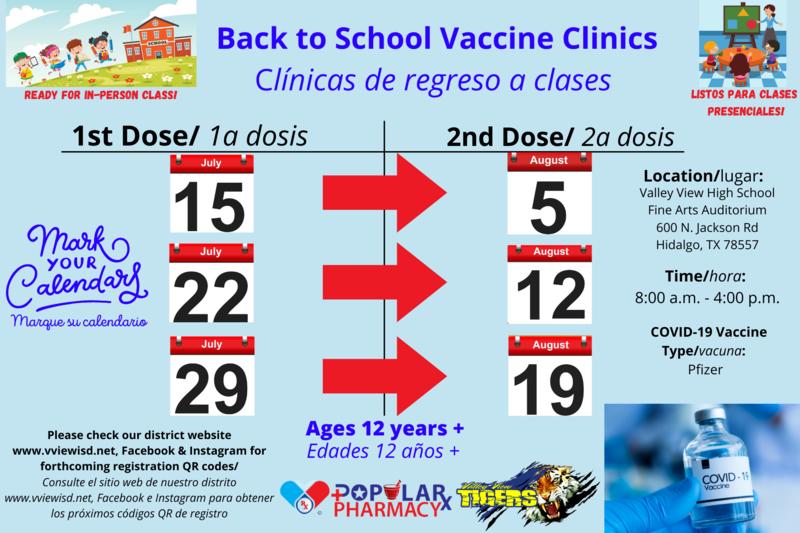 Upcoming COVID vaccine clinics at Valley View ISD! Thumbnail Image