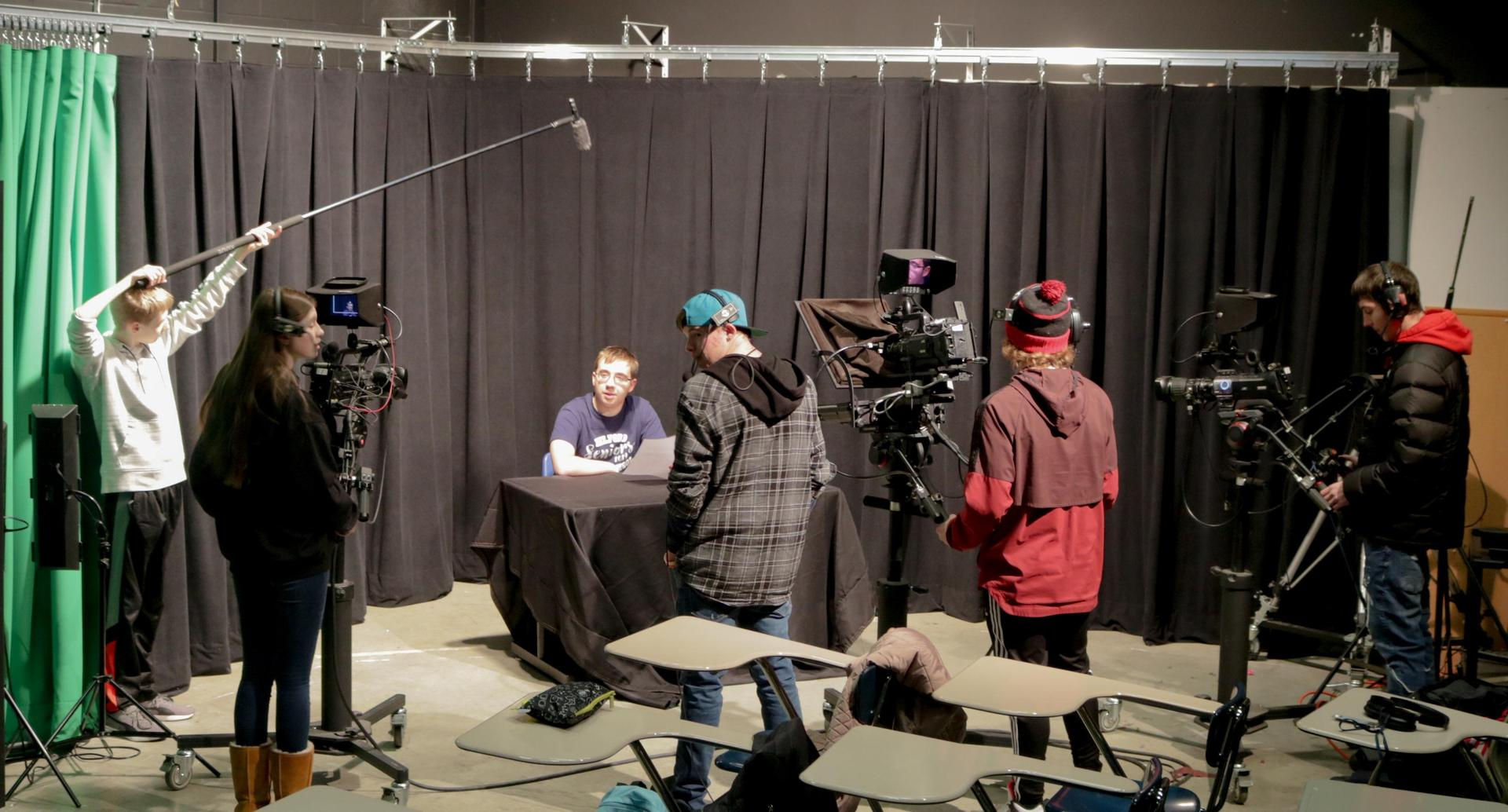 Students doing live filming