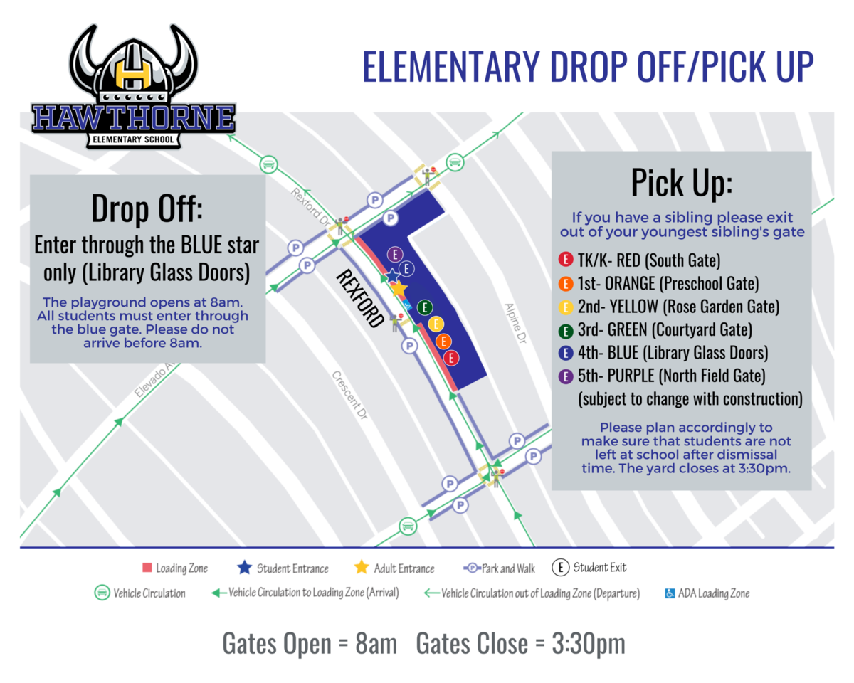 Hawthorne Drop-Off/Pick-Up Map