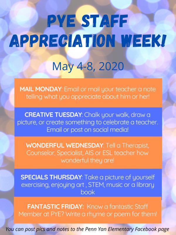 PYE Staff Appreciation Week May 4-8, 2020 Featured Photo
