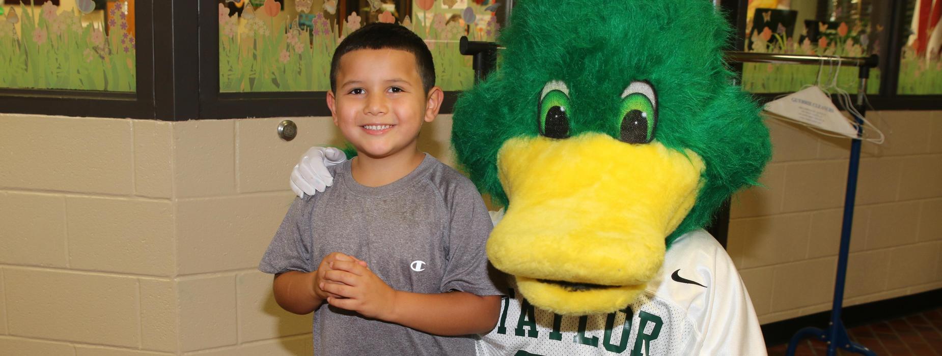Kindergartener with Mascot