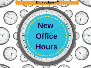 New Office Working Hours. Thumbnail Image