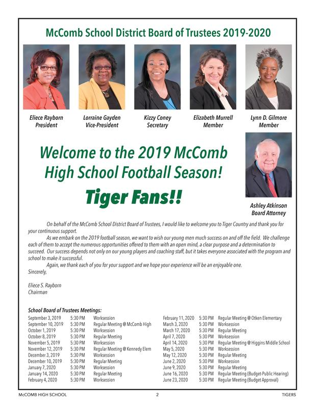 McComb School District Board of Trustees and Meeting Information 2019-2020 #WeWantMore!