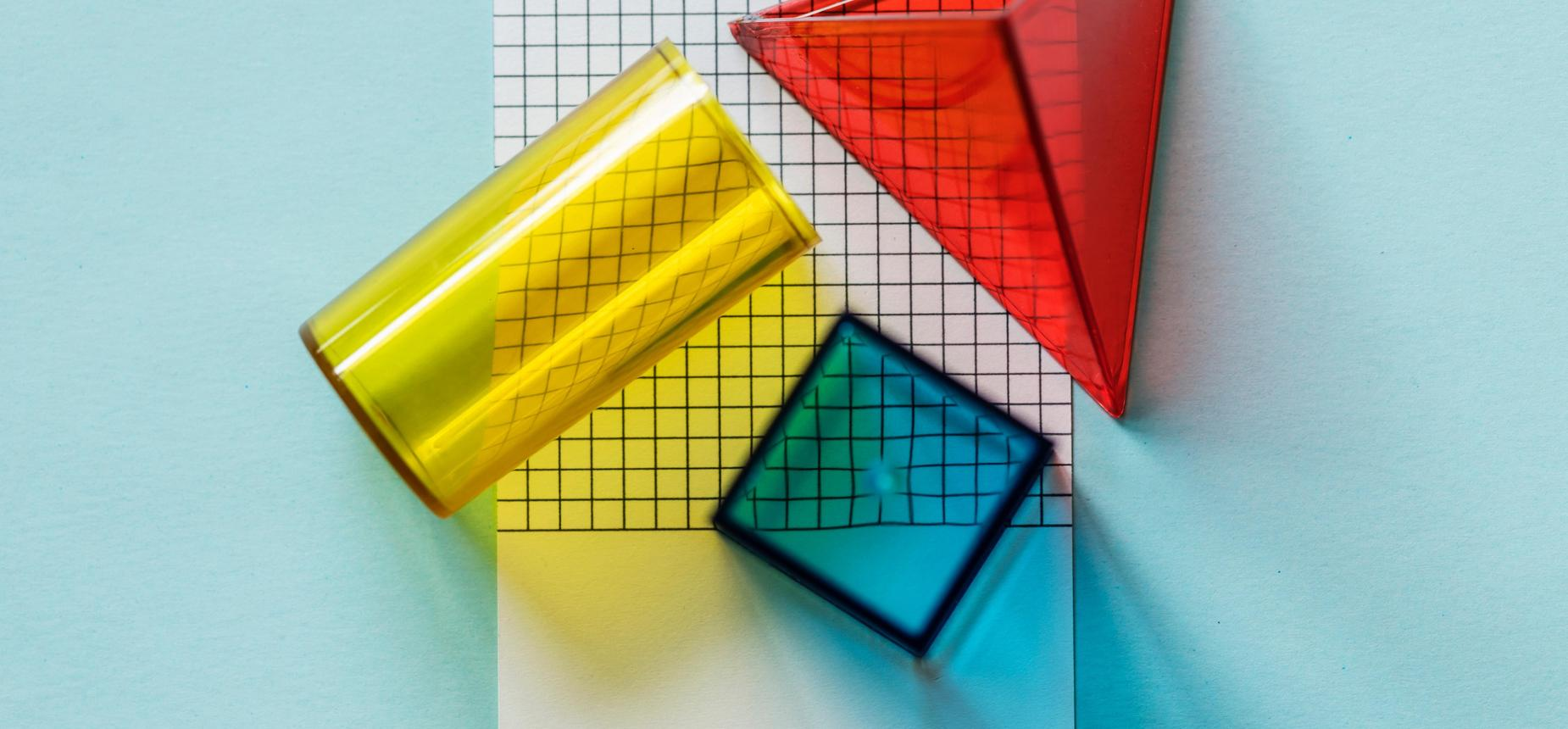 Colorful shapes on graph paper