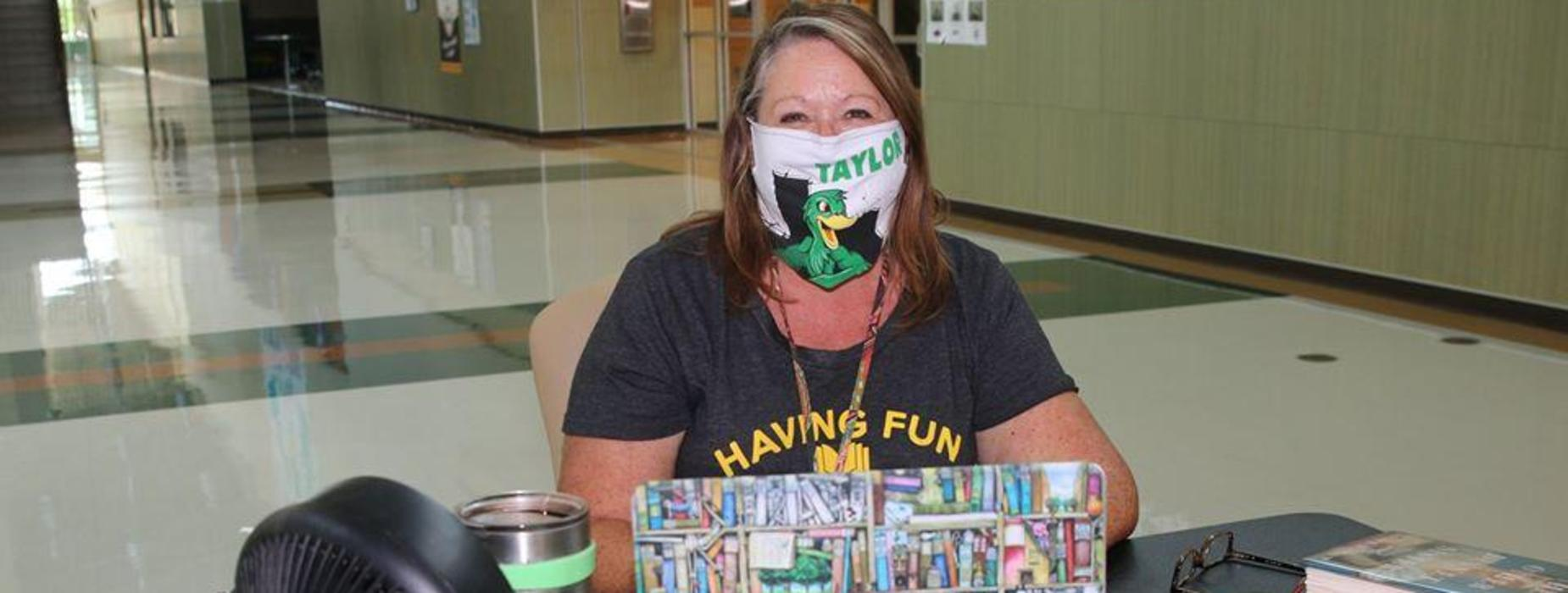 Librarian with face mask