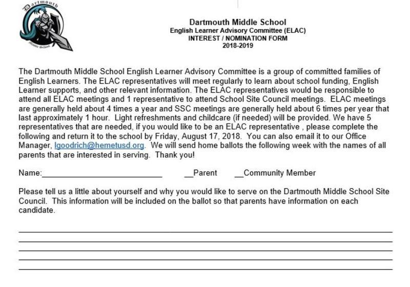 English Language Learners Advisory Committee (ELAC) Information