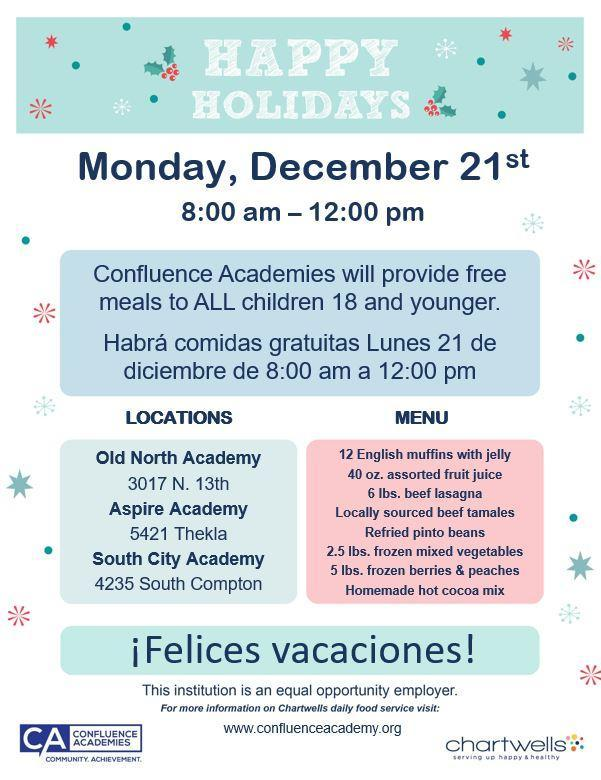 Confluence Academies is Serving Free Meal Kits for Winter Break