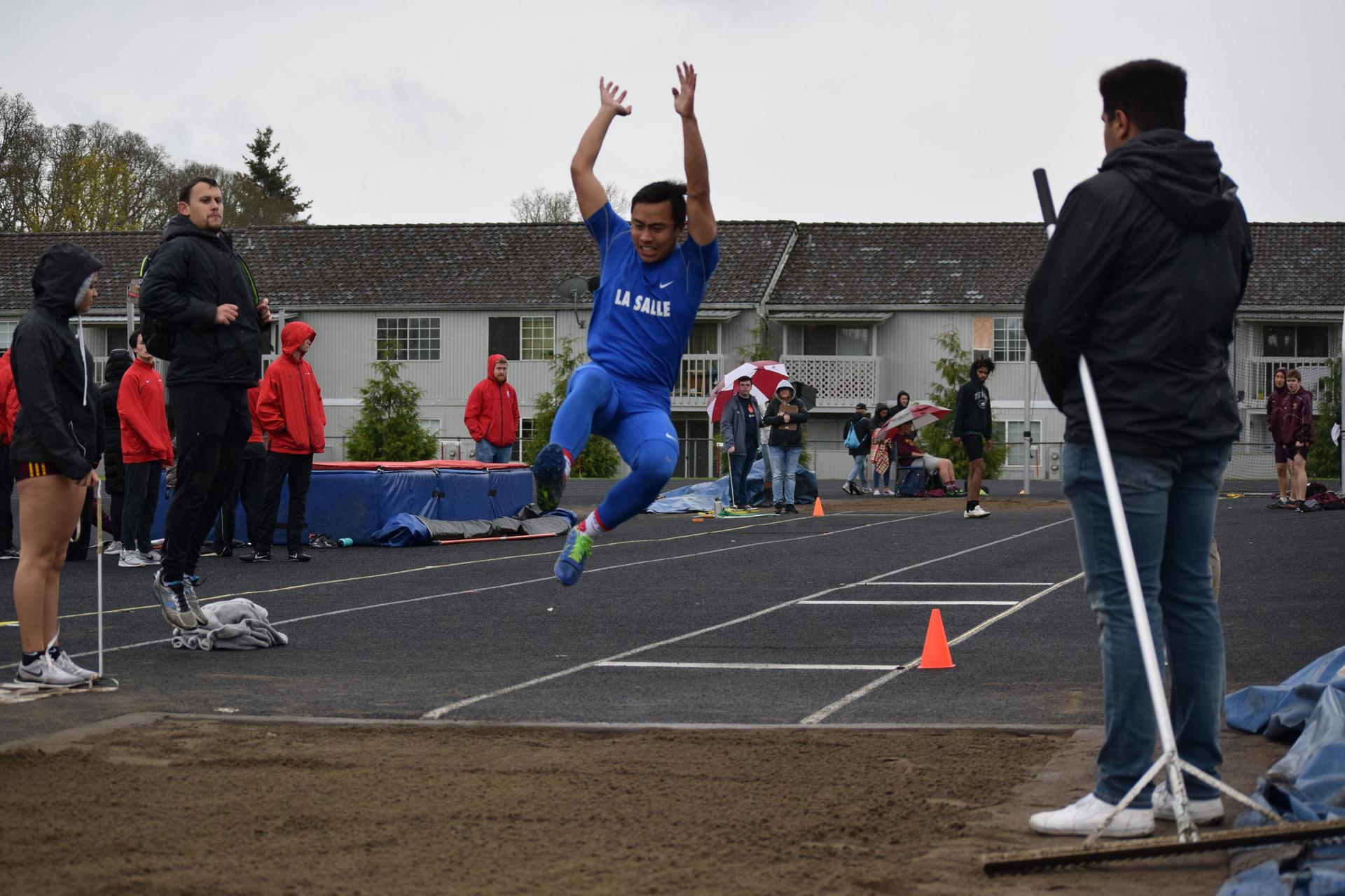 long jumper at track meet