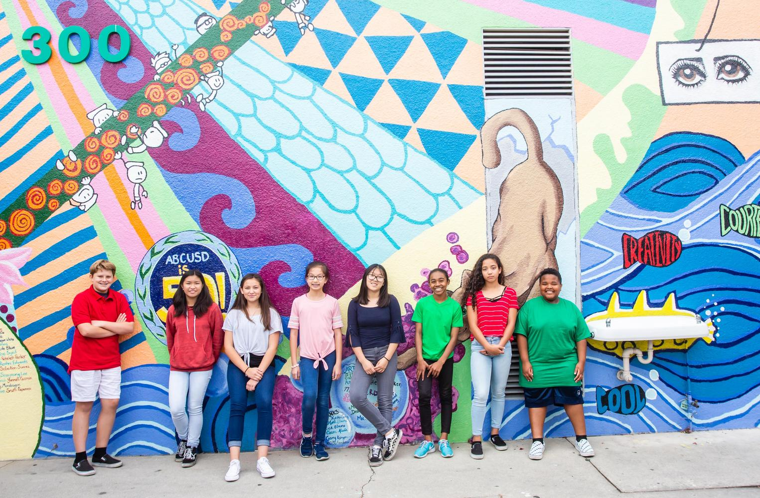 students standing in front of wall paiting