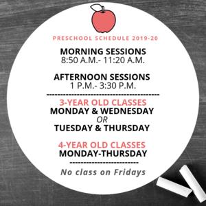 Image of Preschool Schedule for 2019-2020