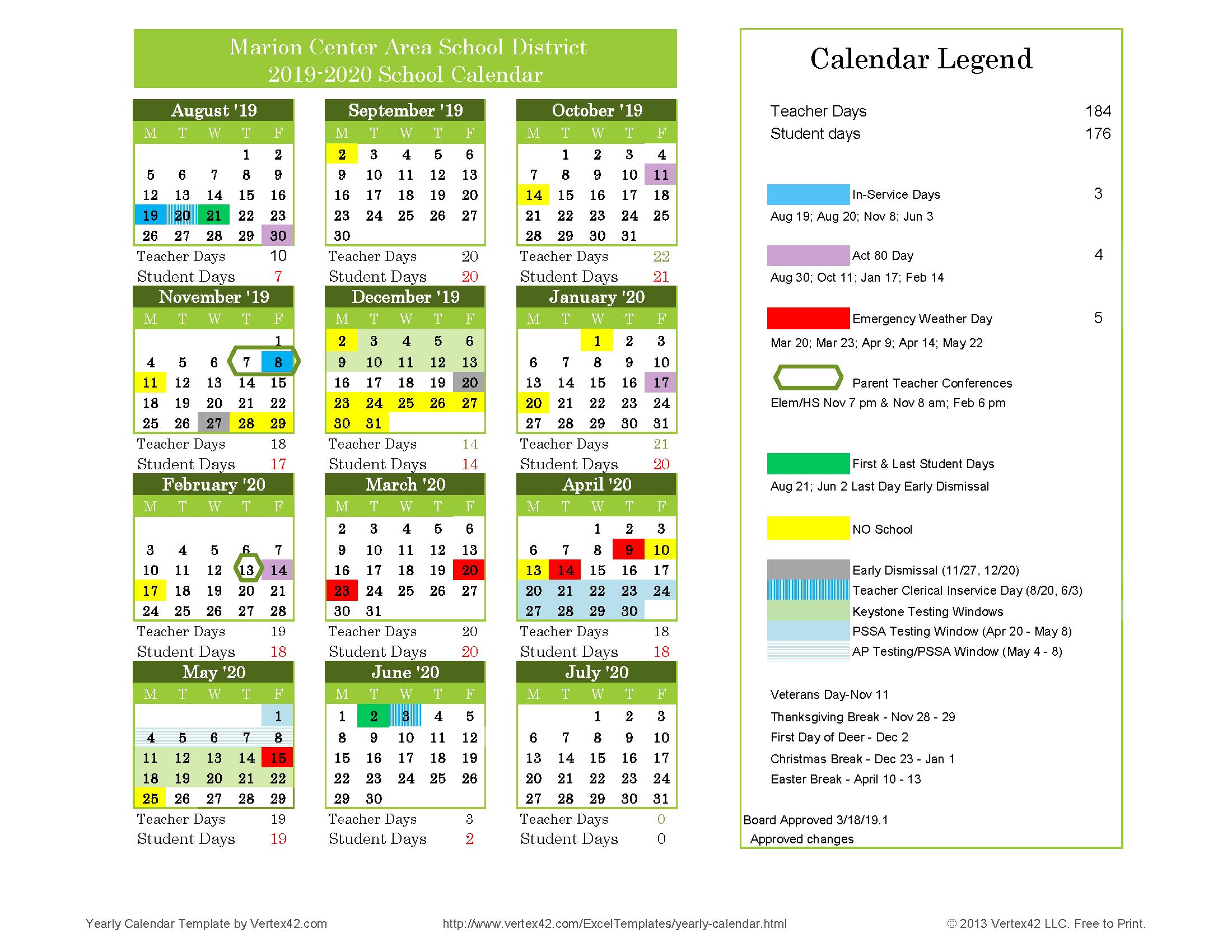 Windows Calendar 2020 2019 2020 School Calendar – About Us – Marion Center Area School