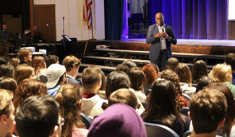 Westfield High School recently welcomed Vaughn L. McKoy, a lawyer, entrepreneur, author, and mentor who encouraged students to stay focused, maintain their footing, keep the faith, and look to the future.
