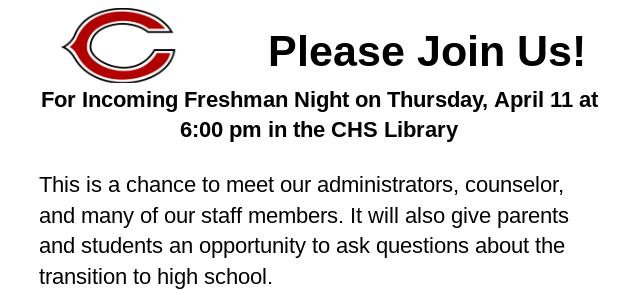 Incoming Freshman Night Announcement