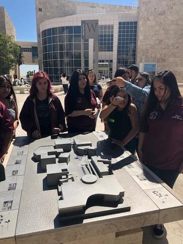 Students check out a 3-D map of the Getty Museum