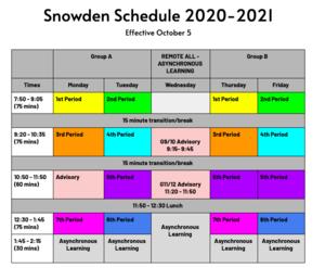 Snowden Remote Learning Schedule