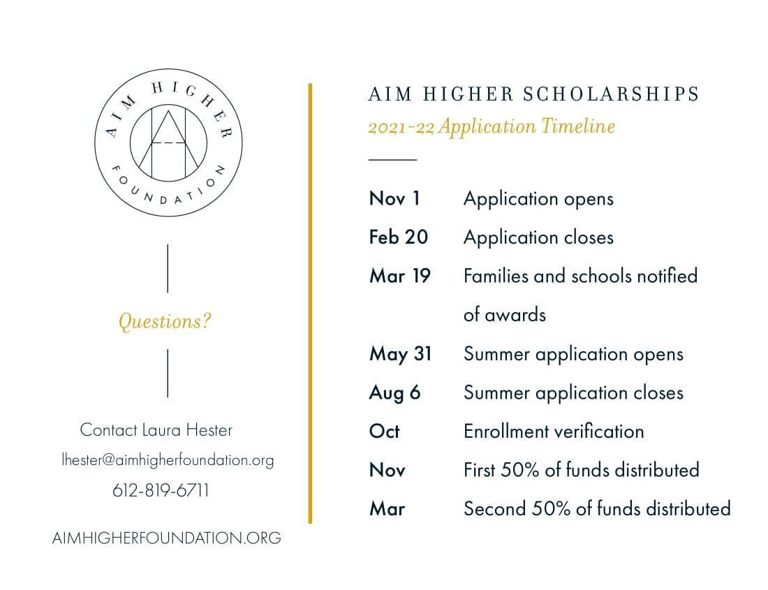 timeline for aim higher scholarships