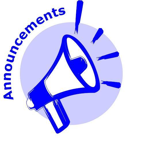 """A megaphone and the word """"announcements"""""""
