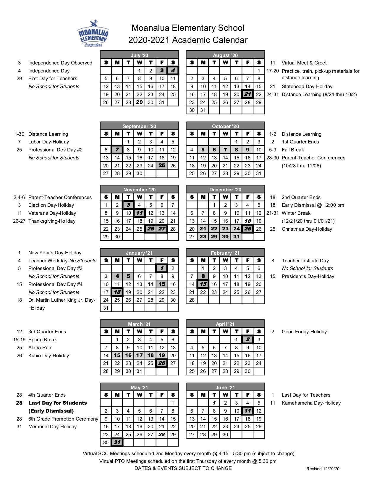 Academic Calendar 2020-2021