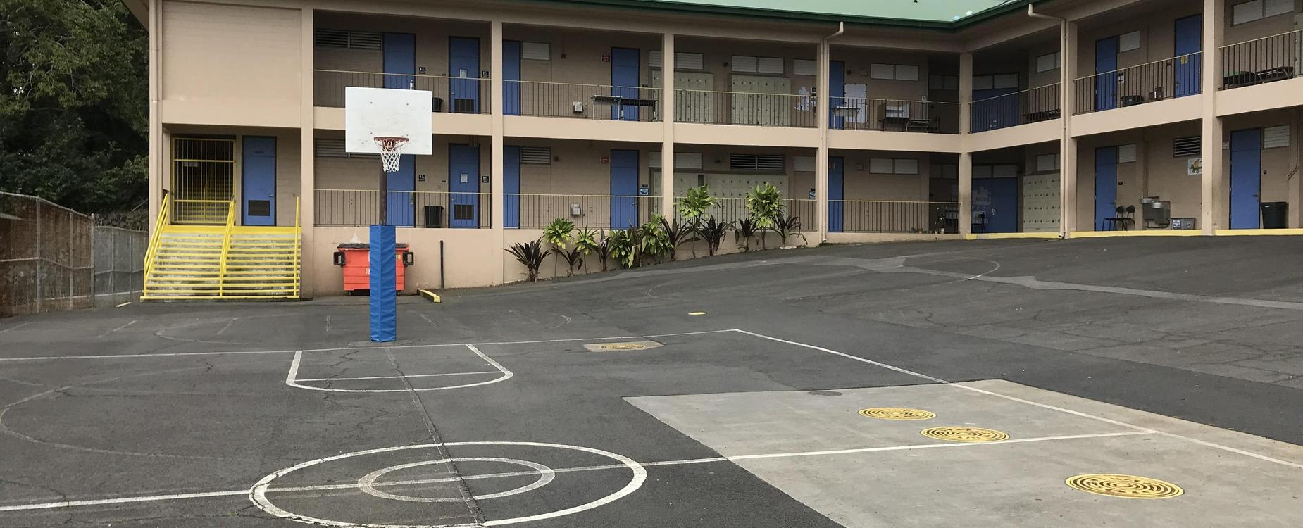 Photo of E building basketball court area
