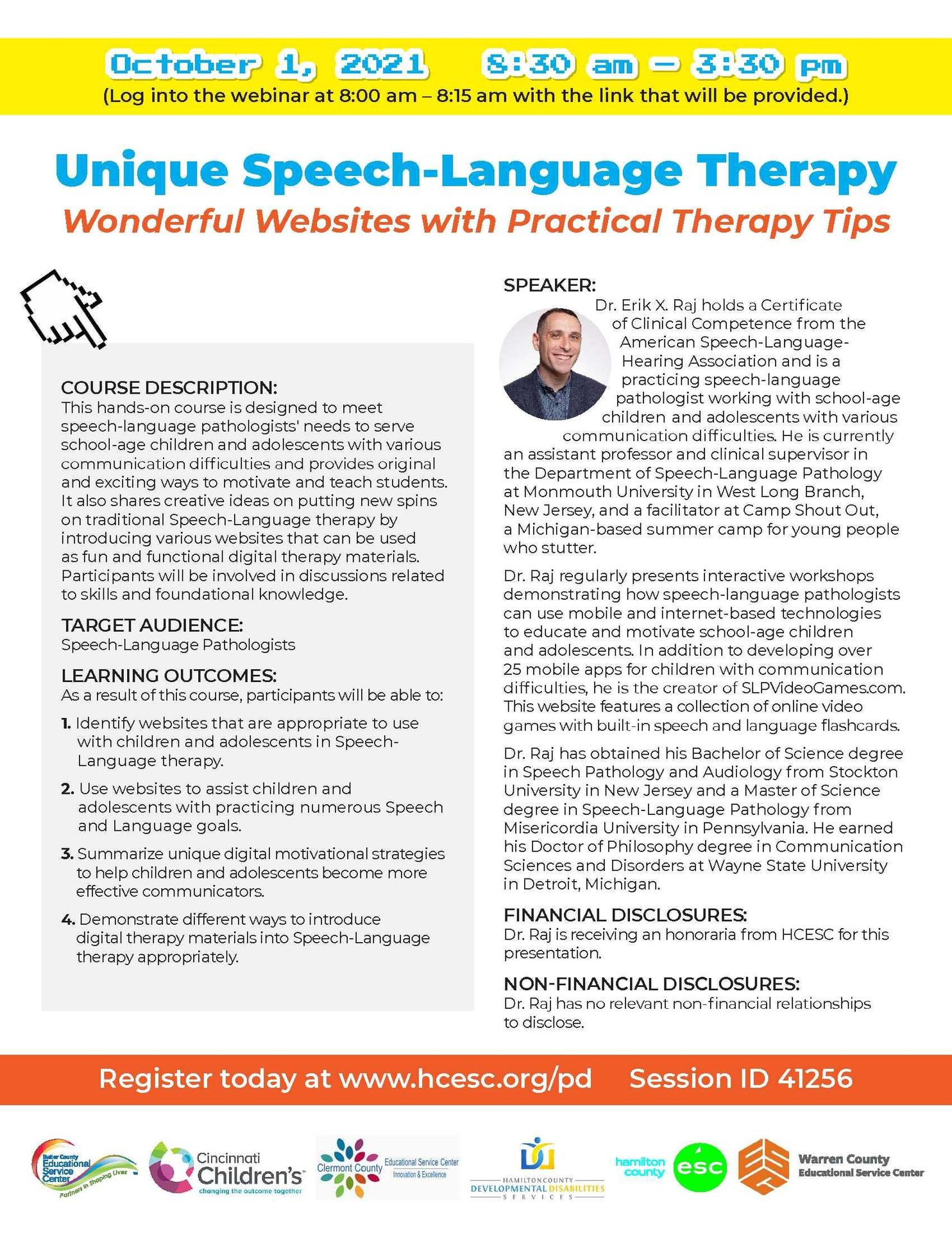 Unique Speech-Language Therapy Flyer