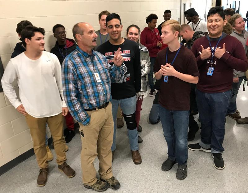 Instructor Laird Thompson takes students on a building tour Monday. All L2IC students received tours of the new center.