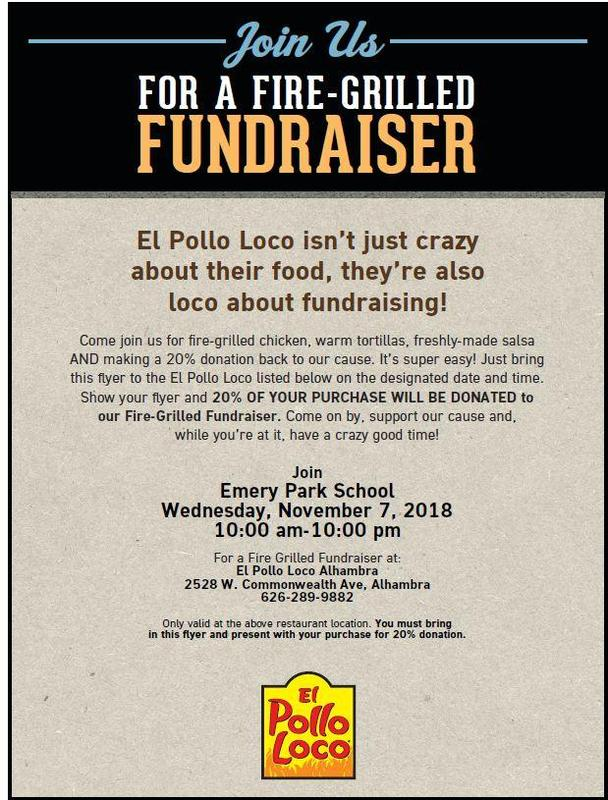 PTA's EL POLLO LOCO FUNDRAISER! NOVEMBER 7TH, 10AM-10PM! Featured Photo