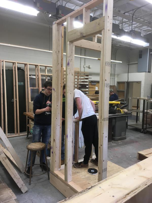 Students working in wood shop