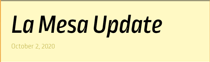 La Mesa Update for October 2nd Featured Photo