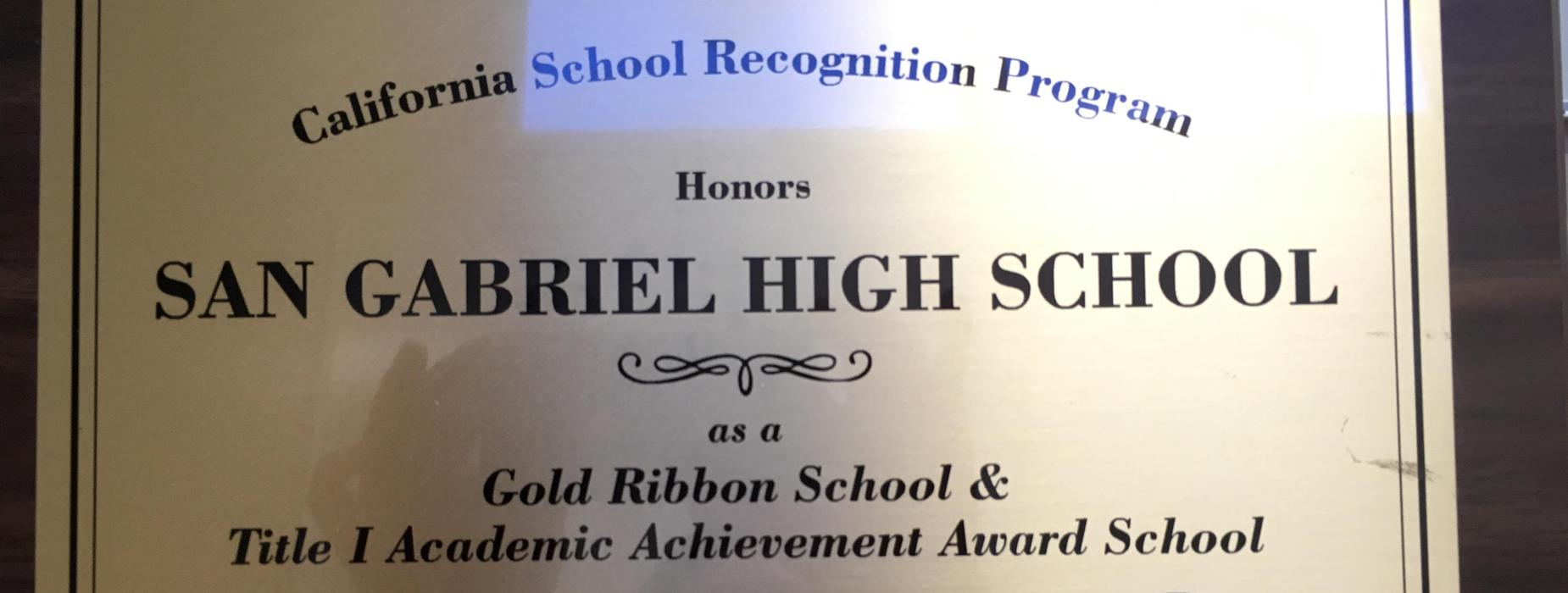 Honoring SGHS as a Gold Ribbon Title 1 School