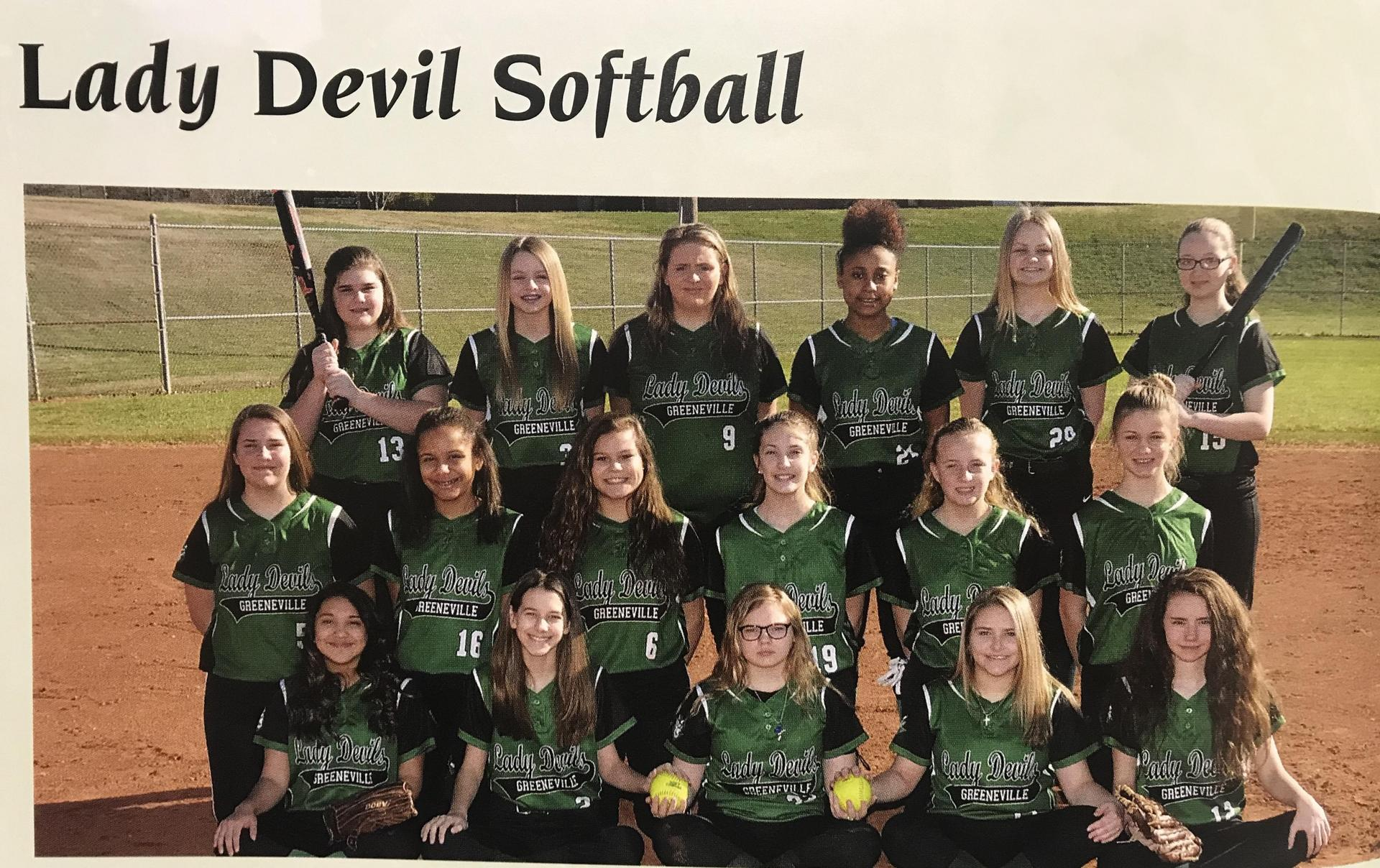 2018-2019 GMS Softball Team