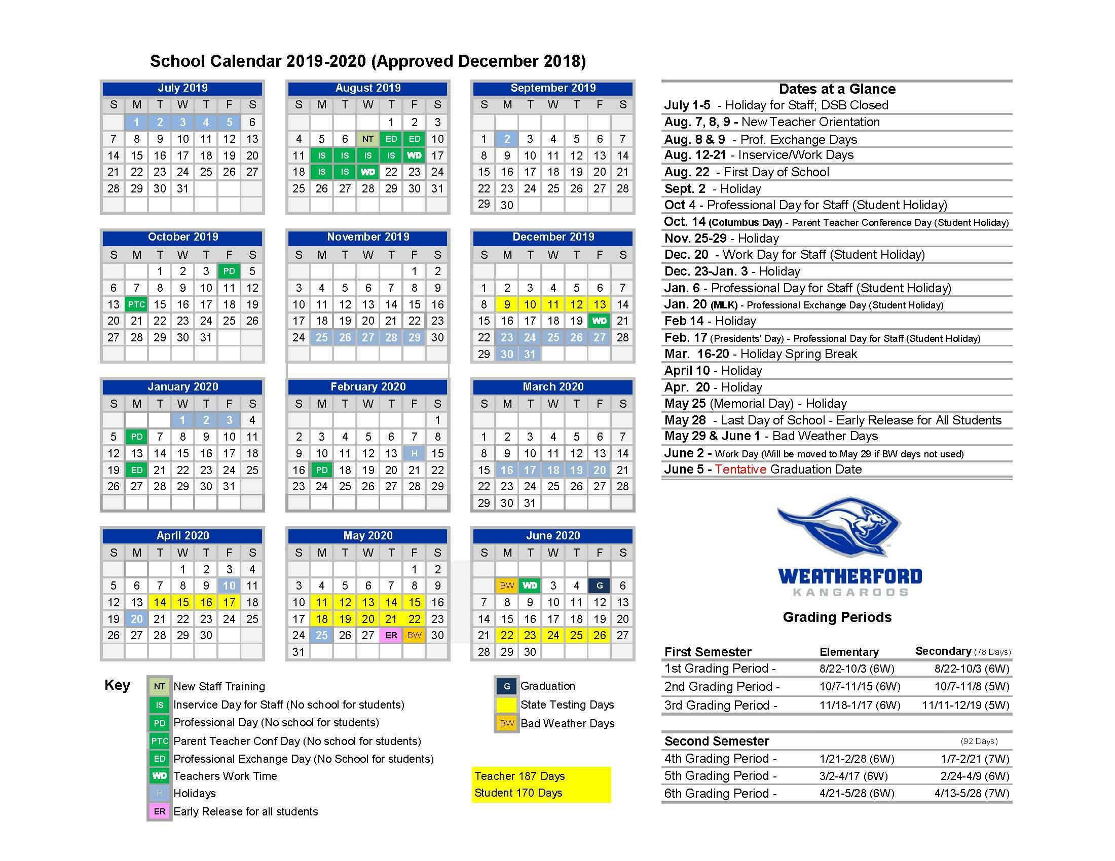 Weslaco Isd Calendar 2020 Home – Calendars – Weatherford Independent School District