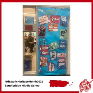 A door to a classroom at Southbridge Middle School decorated for Hispanic Heritage Month