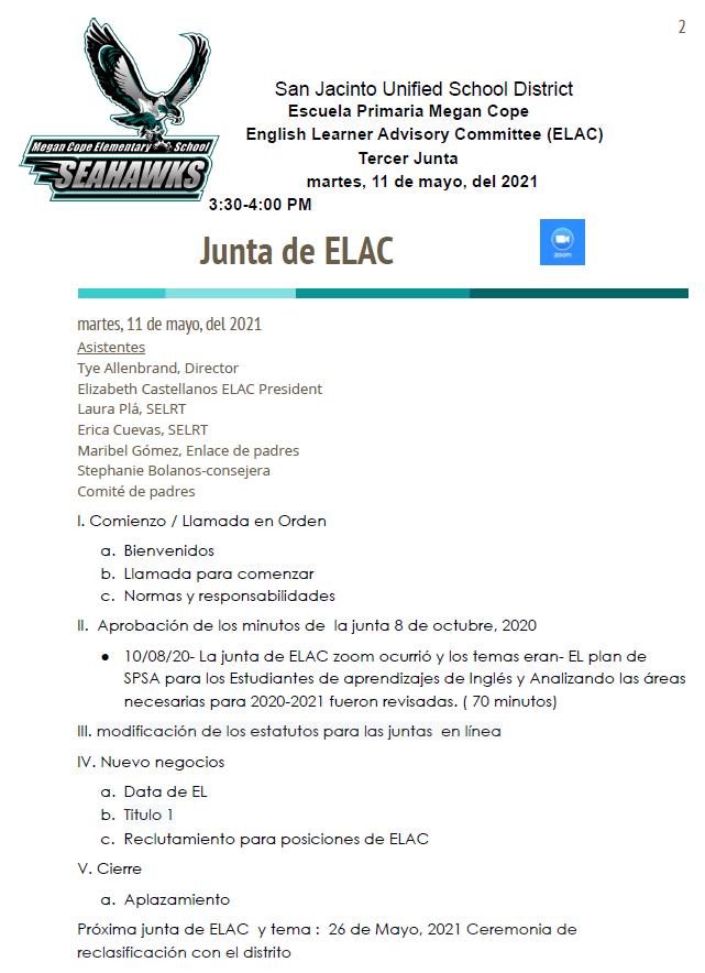 5/11/21 ELAC Meeting Agenda in Spanish