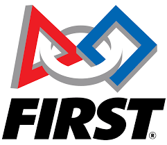 FIRST Logo is a red and blue triangle with a white circle going through both the red and blue triangle. The words FIRST are in black.