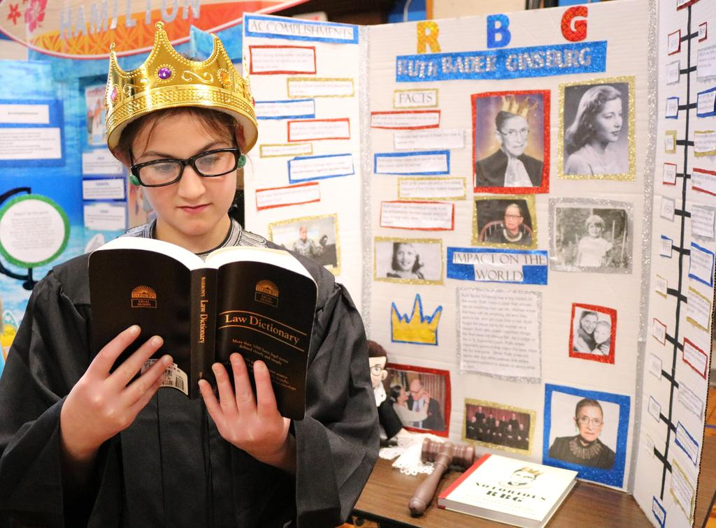 "Photo of Wilson 5th grader as Ruth Bader Ginsberg at annual ""Wax Museum"" event."