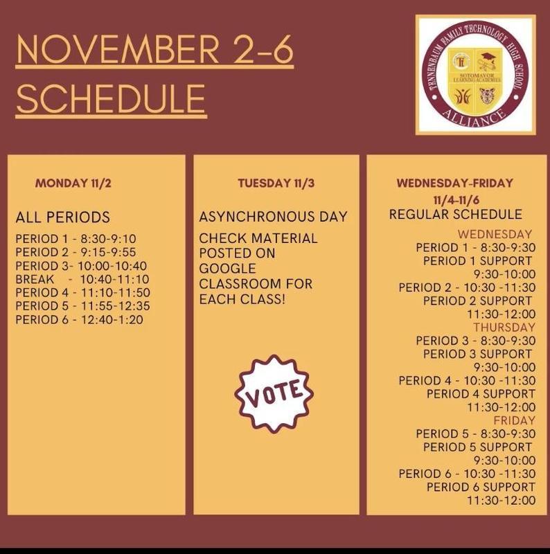 Nov. 2nd & 3rd Bell Schedule/Horario de Campana Thumbnail Image
